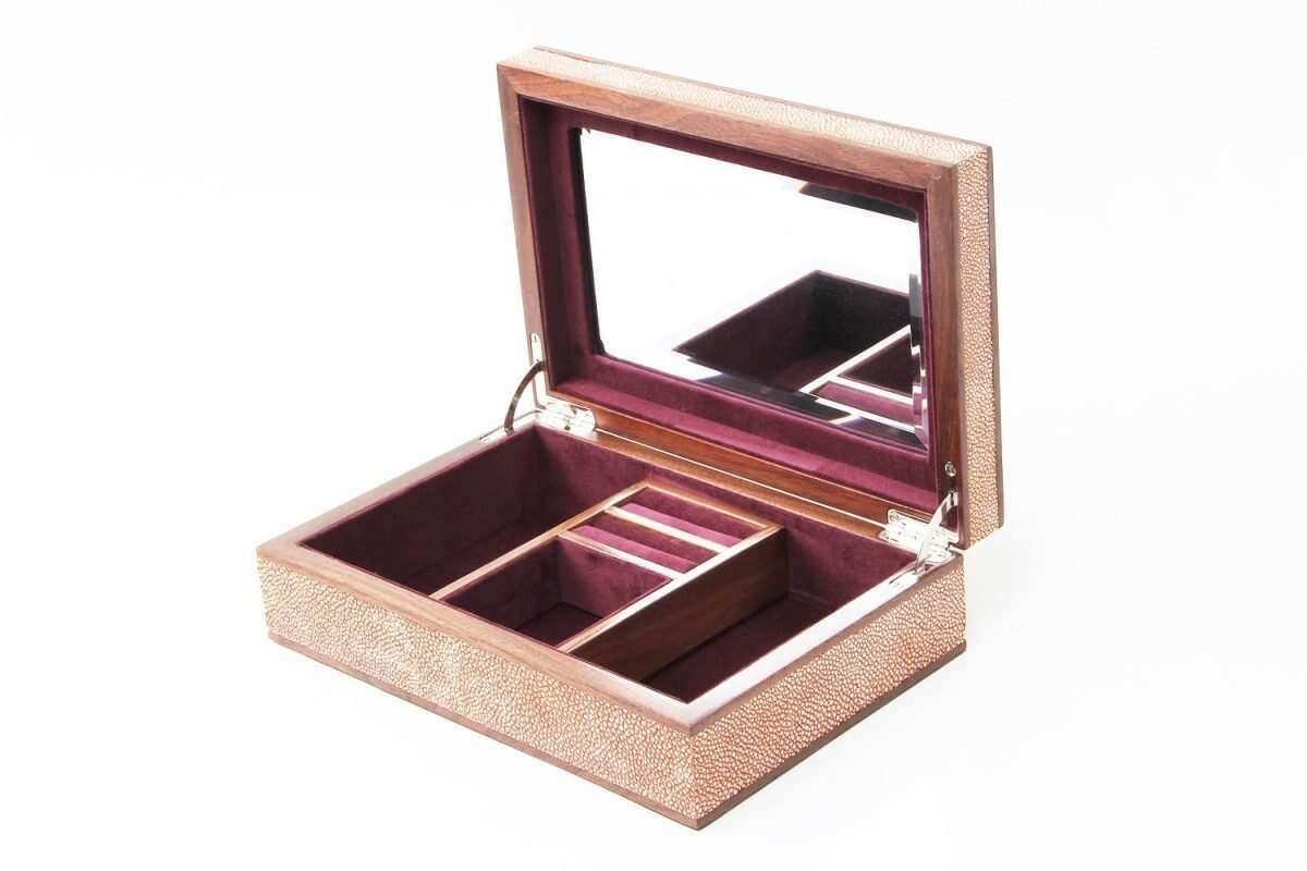Ansley Jewellery Box in Coral shagreen by Forwood Design 5