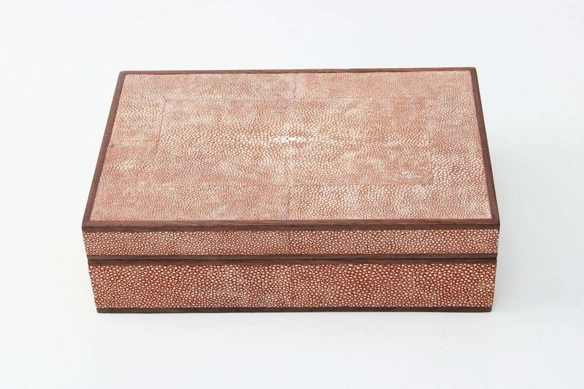 Ansley Jewellery Box in Coral shagreen by Forwood Design 1