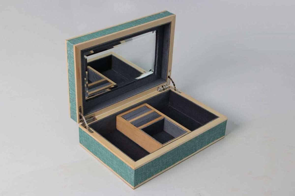Ansley Jewellery Box Teal Linen 3