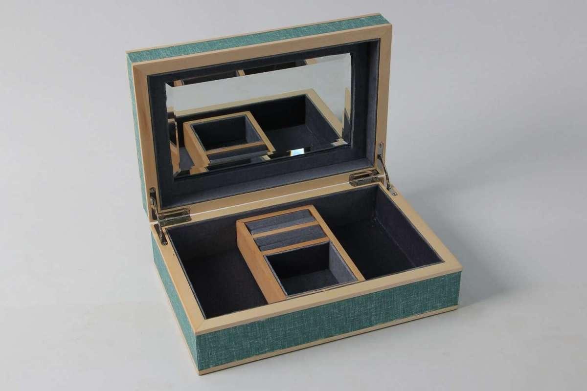 Ansley Jewellery Box Teal Linen 2