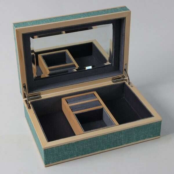 Ansley Jewellery Box Teal Linen 2