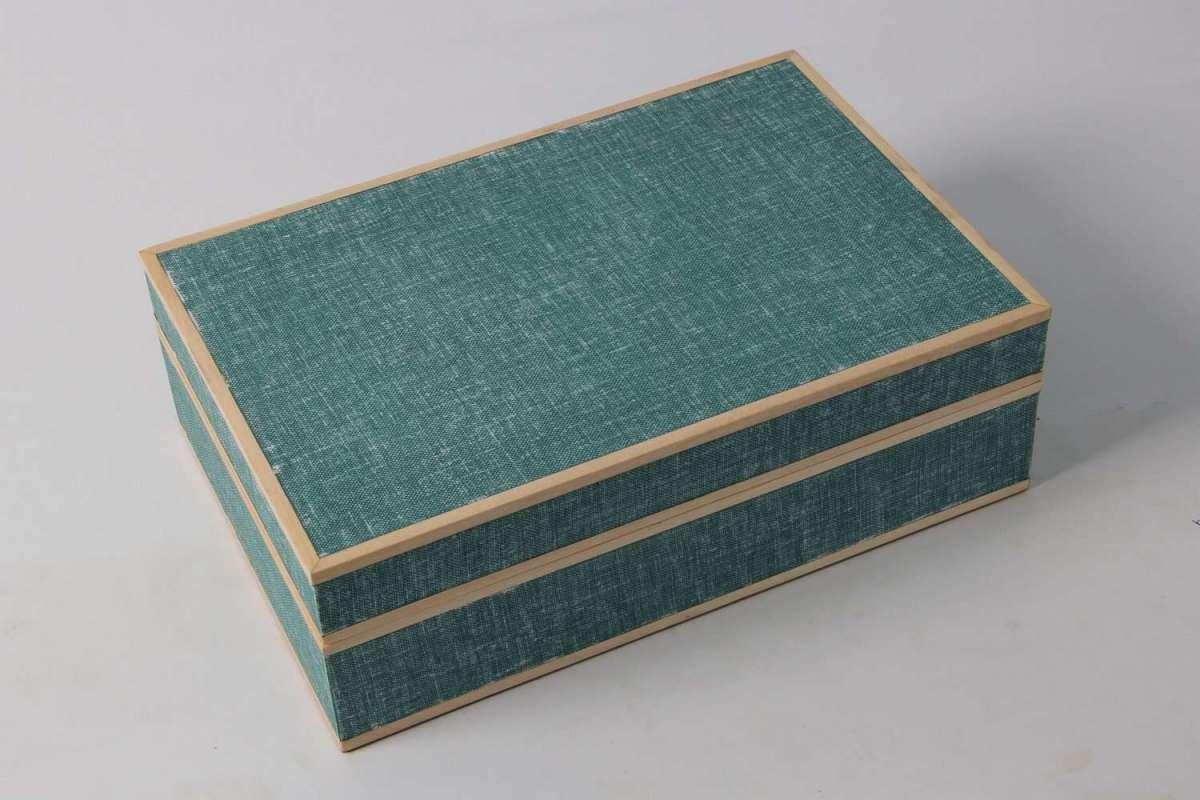 Ansley Jewellery Box Teal Linen 1