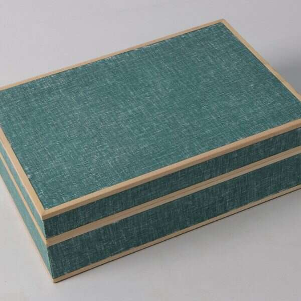 Ansley Jewellery Box Teal Linen 1
