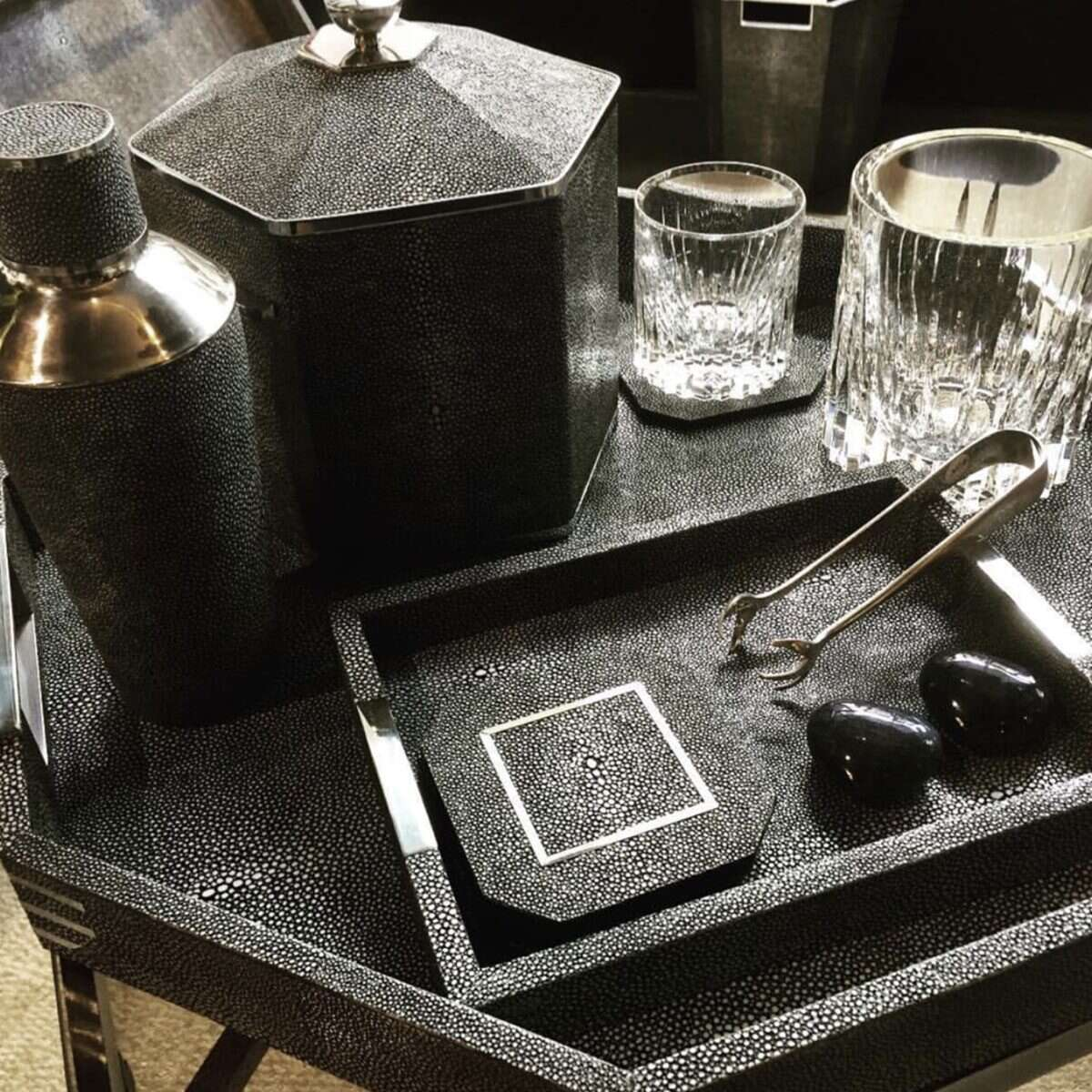 Cocktail Shaker in Charcoal Shagreen by Forwood Design 7