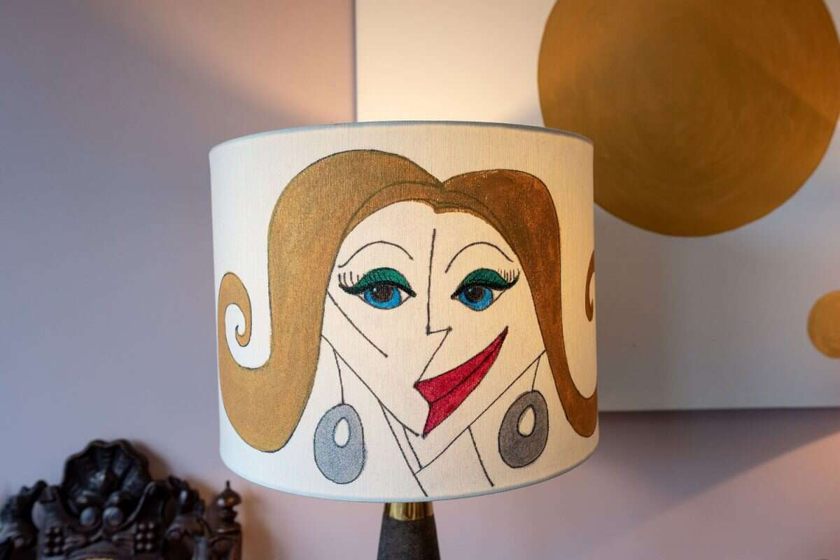 Kitty Arden's 'Ladies 1' Silk Drum Lamp Shade 4