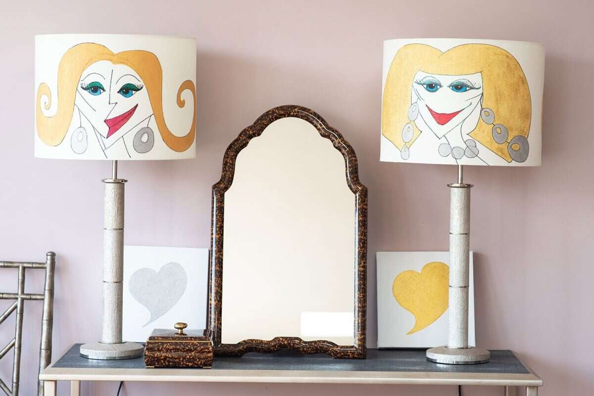Kitty Arden's 'Ladies 1' Silk Drum Lamp Shade 3