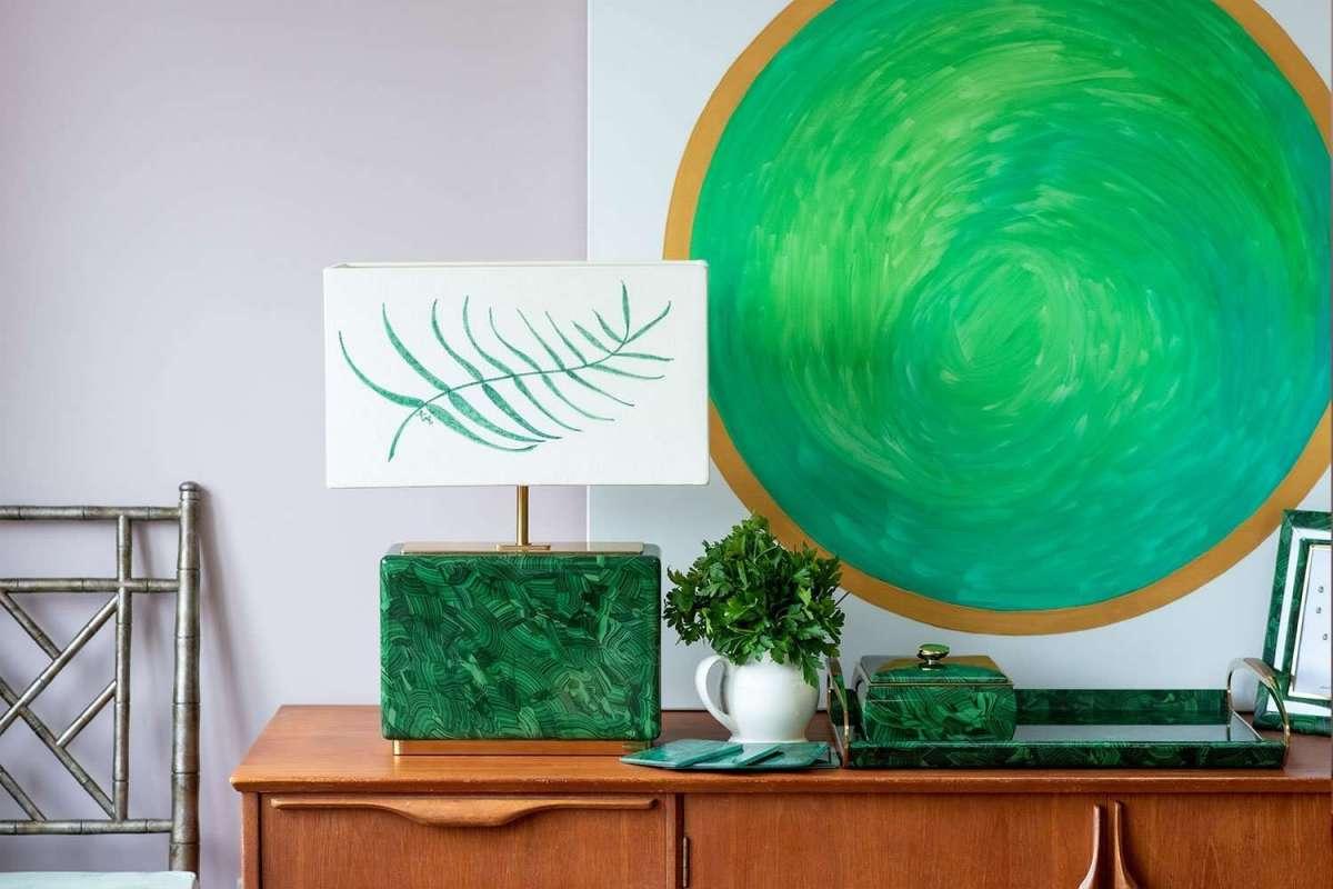 Kitty Arden's 'Palm Leaf' Silk Block Lamp Shade 2