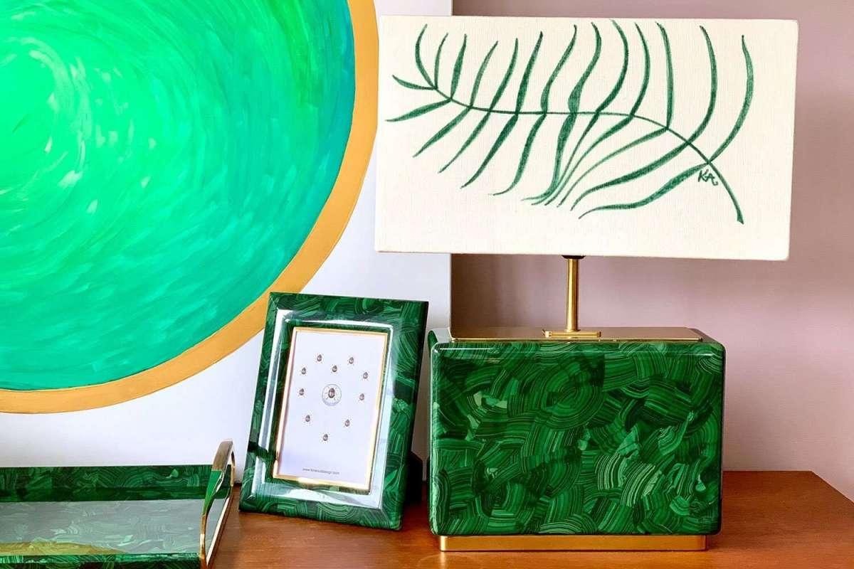 Kitty Arden's 'Palm Leaf' Silk Block Lamp Shade 3