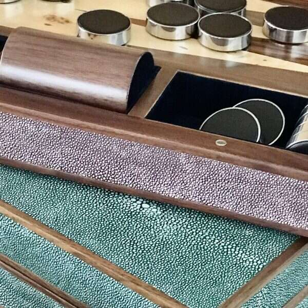 Backgammon Board in Mulberry Shagreen by Forwood Design 2