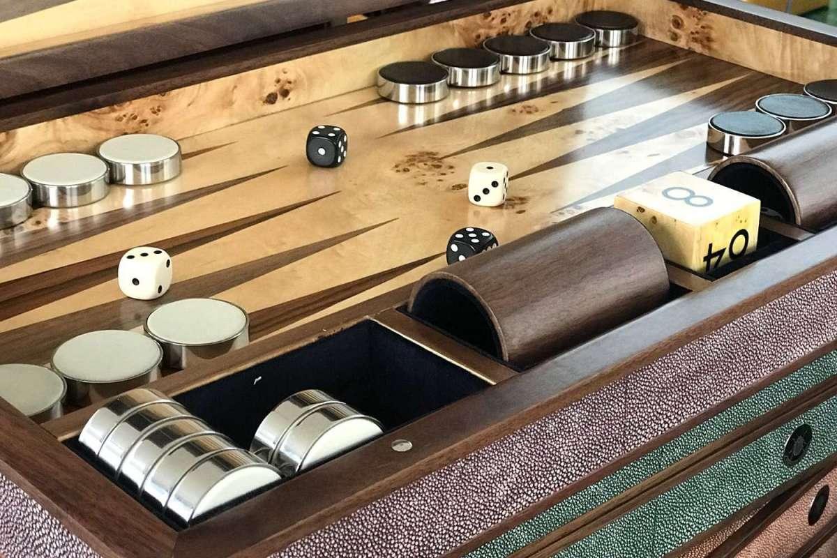close-up of luxury backgammon board