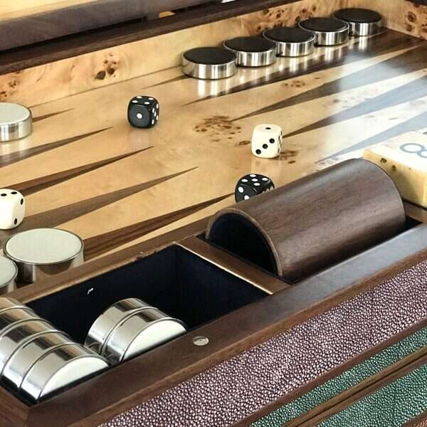 Backgammon Board in Mulberry Shagreen by Forwood Design 1