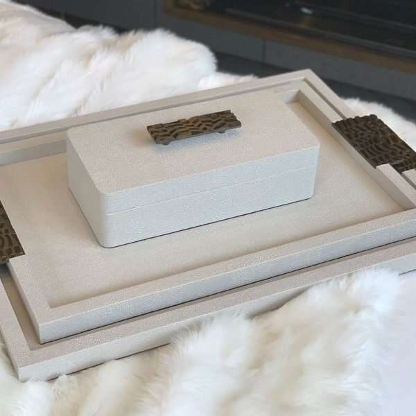 Rachel Winham's Linen White Shagreen Drinks Tray 01