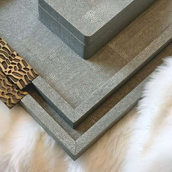 Rachel Winham's 'Midnight' Shagreen Drinks Trays 9