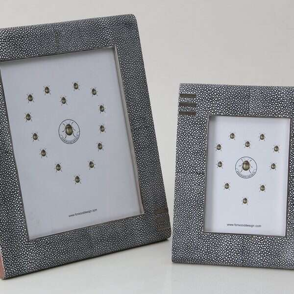 Chandler photo frames in charcoal shagreen by Forwood Design 1