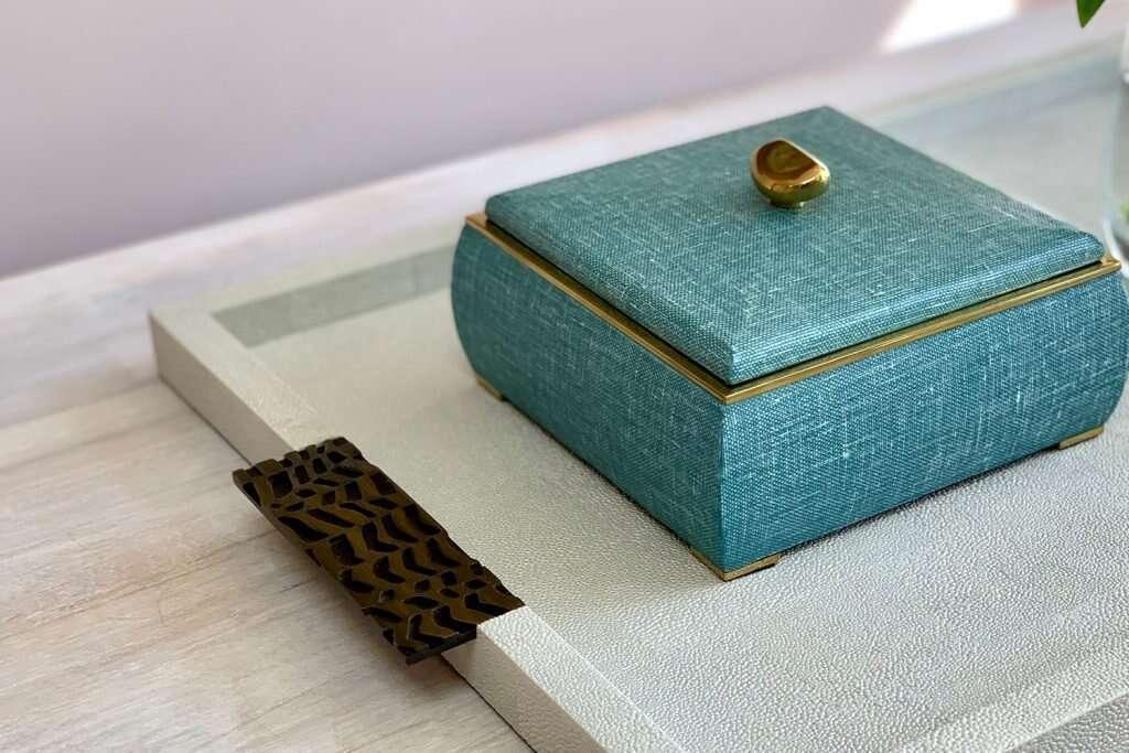 luxury drinks tray - Linen jewellery box